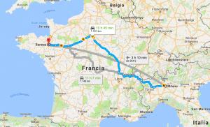 Mappa Milano-Rennes