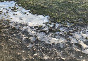 Una pozzanghera ghiacciata ad Auschwitz